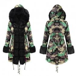 Size is S Hooded Camo Jacket Parka Warmest Faux Fur Winter Coats For Women