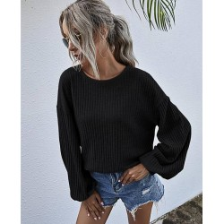 Color is 3 Plain Lantern Sleeve Ribbed Knit Shirt Top Black For Women