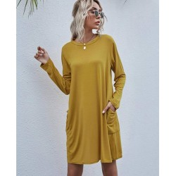 Color is 3 Long Sleeve Loose Midi T Shirt Dress With Pockets Yellow For Women