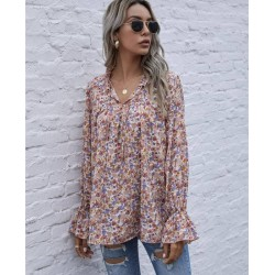 Color is 3 Bell Sleeve Floral Print Shirt Blouses Tops For Women