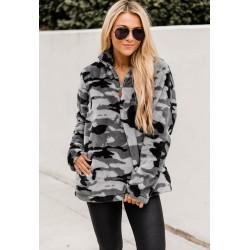 Size is S Winter Pullover Half Zip Camouflage Fleece Sweatshirts For Women