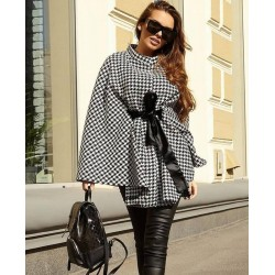 Color is 3 Winter Houndstooth Woolen Cloak Tie Waist Coat Ponchos Outwear For Womens