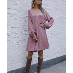 Size is S Half Button Tie Long Sleeve Waffle Knit Flare Midi Dress For Women