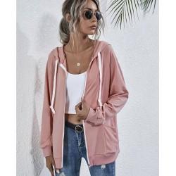 Size is S Pockets Plain Zip Up Hooded Sweatshirts Jacket Tops For Women