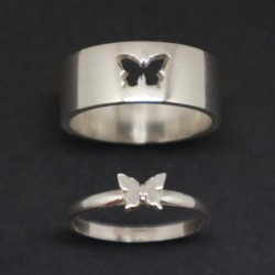 Matching Butterfly Couple 2Pcs Ring His And Her Promise...