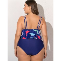 Size is L Plus Size Ruffle Dinosaur High Waisted Tankinis Two Piece Swimsuit