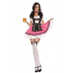 Pink Beer Maid Costume With Apron Strings&Neck Ornament...