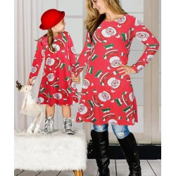 Size is M(+$3.00) Mommy And Me Christmas Dresses Girls Santa Print Party Outfit