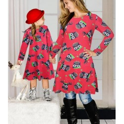 Size is M(+$3.00) Xmas Reindeer Owl Print Black Mommy And Me Christmas Dresses