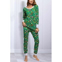 Size is S Womens Long Sleeve Christmas Socks Pajamas Set Red and Green