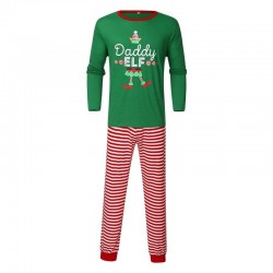 Size is 1T-2T Christmas Pajama Sets Daddy Mummy Elf Print Matching Family For Adult Kids
