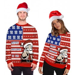 Size is M Red Christmas Hallmark Sweatshirt Santa Claws Ugly Couple Set